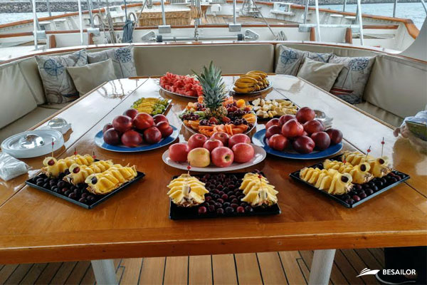 Fruit assortment on table of Outdoor Dining Room