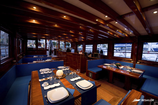Tables for dinner and lunch in port of Barcelona