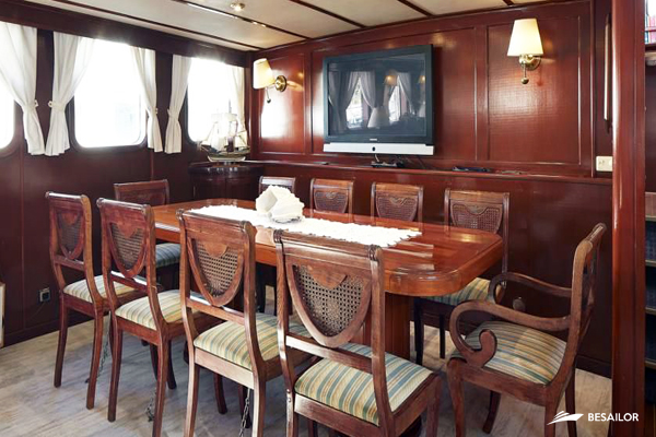 Image of a yacht's living room with TV