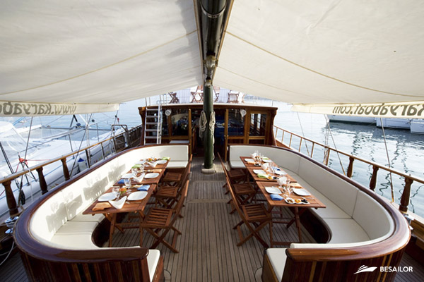 Deck of Karya sailboat in Barcelona's Port Vell