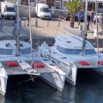 Image of two Catamarans moored in Port Olímpic of Barcelona
