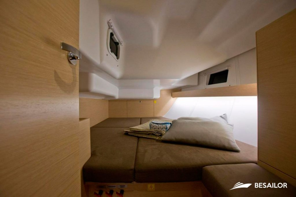 Bed with cushions in Cabin of Elan Impression 40