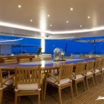 Table for celebrations and meals for 20 people in super yacht luxury nirvana