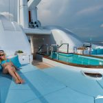Zone solarium beds comfortable with jacuzzi in super yacht nirvana
