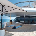 Zone with umbrellas to relax sailing in super yacht luxury nirvana