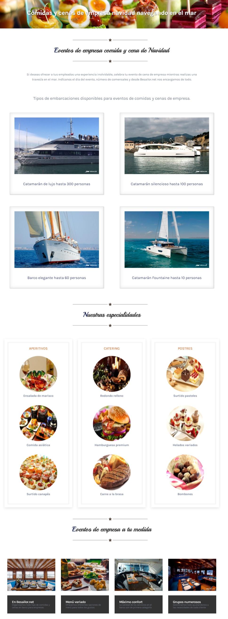 Canapes variados para cenas y comidas de empresa en barco